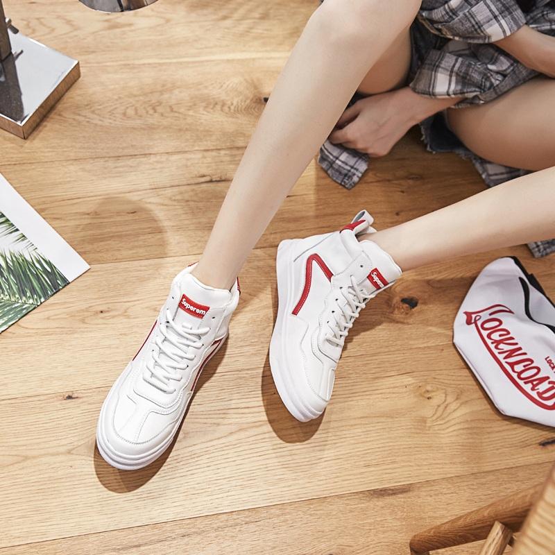 Giày cao cổ nữ 2019 xuân hè mới phiên bản Hàn Quốc hoang dã cộng với giày nhung trắng giản dị sinh viên giày hip-hop hip-hop giày thủy triều - Giày cao gót