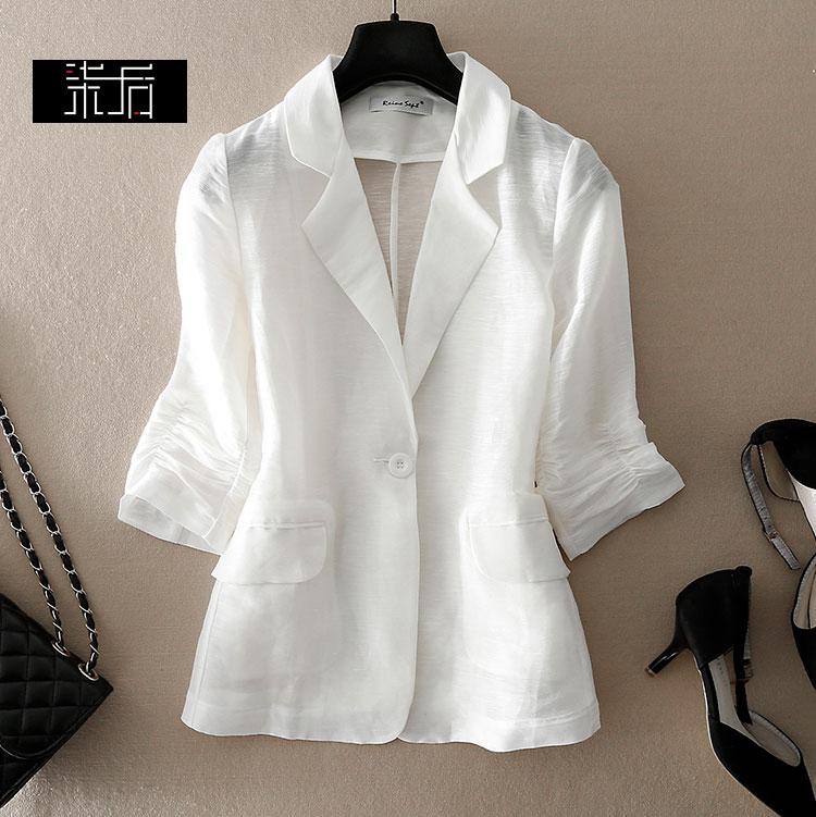 2020夏款通勤简约一粒扣立体收腰西服气质修身丝麻小西装薄外套女