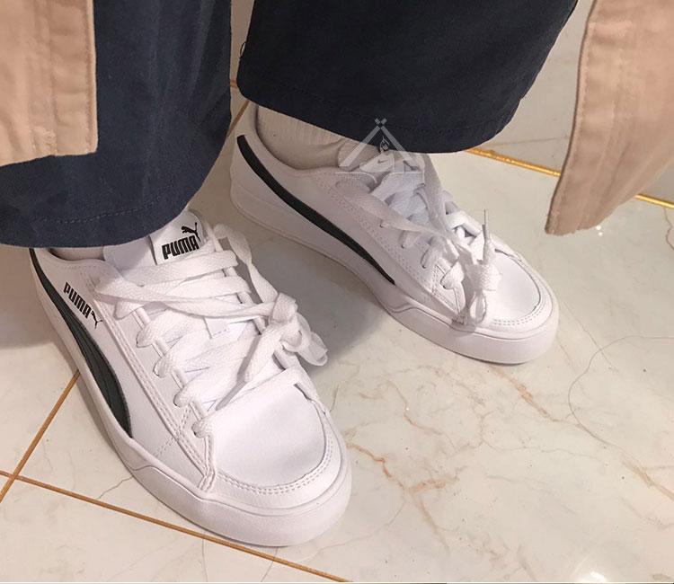 鞋狗體育彪馬 PUMA smach vulc 情侶款白藍帆布運動休閒小白鞋 359914-01