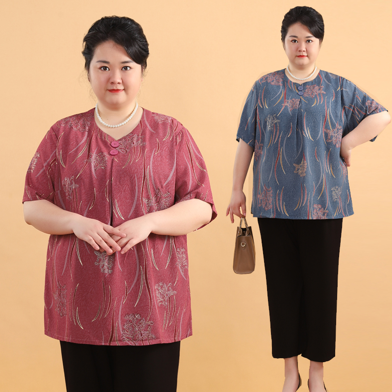 加肥特大码中老年妈妈夏季上衣T恤胖套装小衫200斤太太胖短袖女装