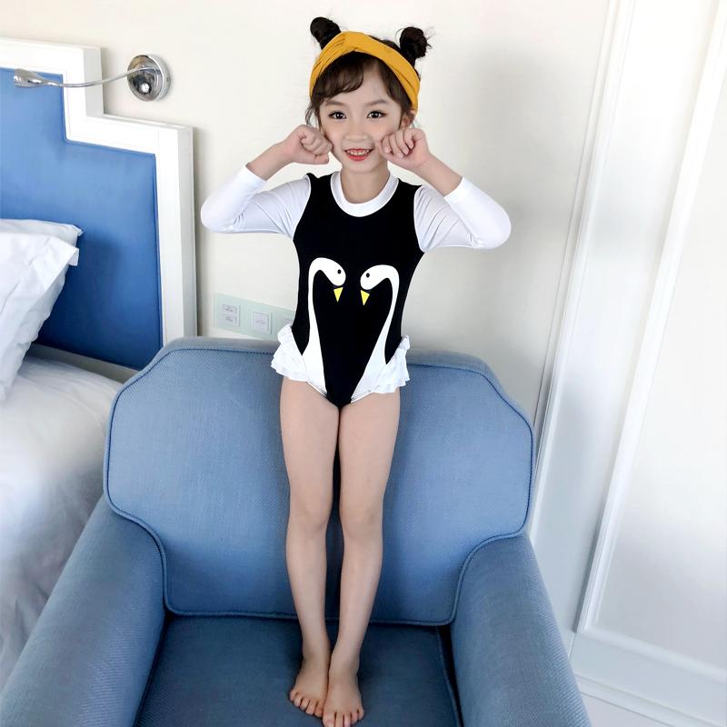 儿童泳衣男童女童宝宝连体游泳衣小童中大童分体长短袖温泉泳衣(【佑游】男童女童游泳衣)