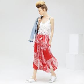 女夏波普条纹印花雪纺不规则半身裙裤