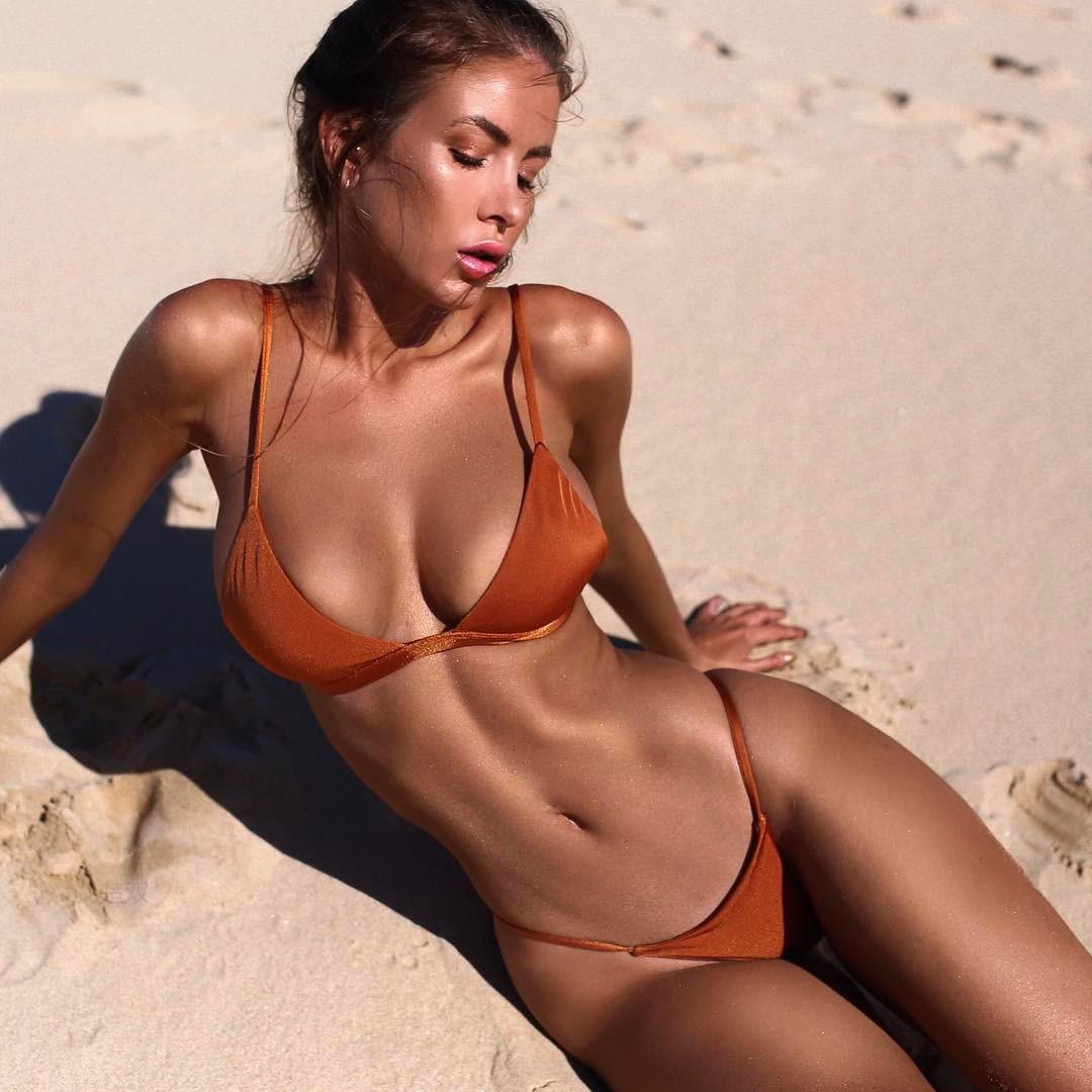 经典外贸爆款bikini纯色简约爆胸性感三角分体泳衣性感比基尼