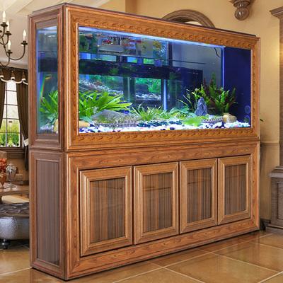 歐寶中式生態龍魚缸水族箱復古客廳大型屏風1.2米仿紅木紋底過濾
