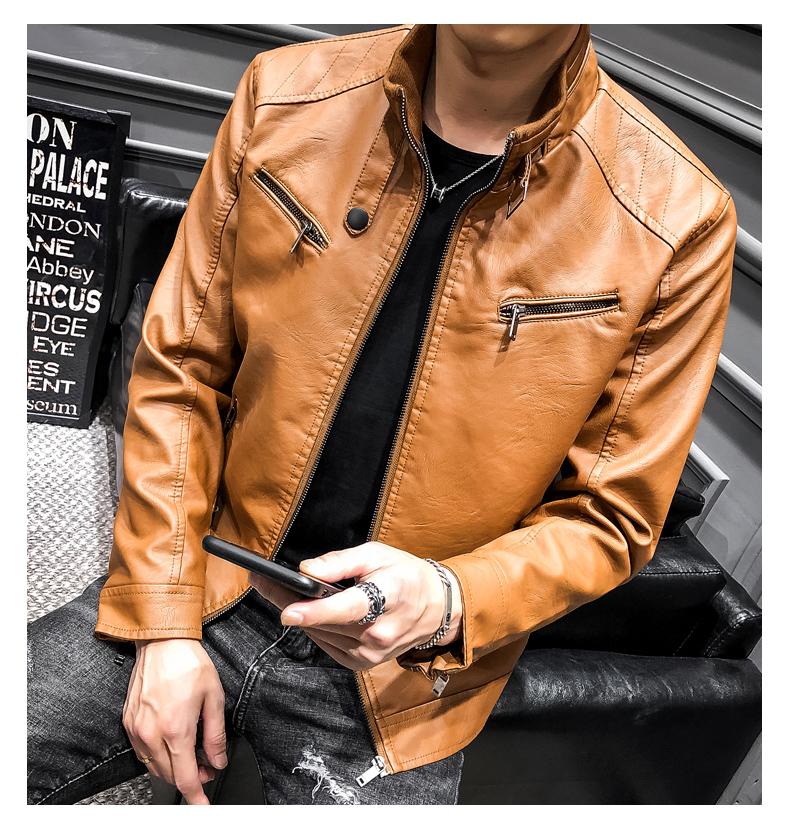 超爆款PY04P75 男式PU立领青年休闲修身机车皮夹克外套男男装皮衣