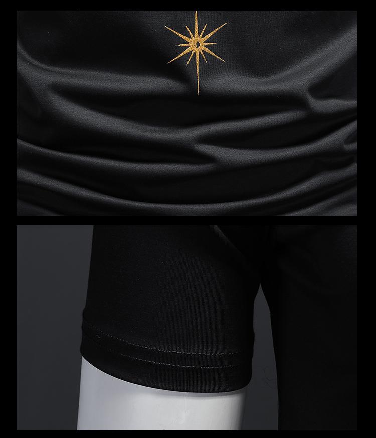 2020新款夏装高品质双丝光棉男士短袖T恤 D320 -22255- P70/黑色