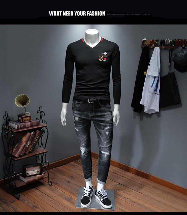 2020秋装新款潮流V领长袖t恤男修身男士打底衫 D320-99769-P80