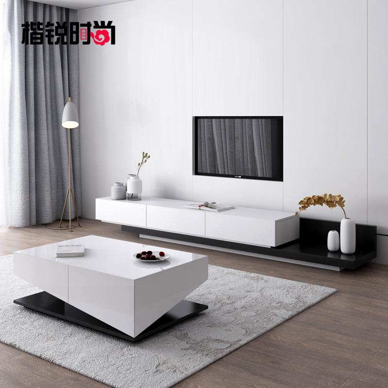 伸縮電視柜茶幾組合簡約現代小戶型客廳家具定制北歐烤漆電視機柜