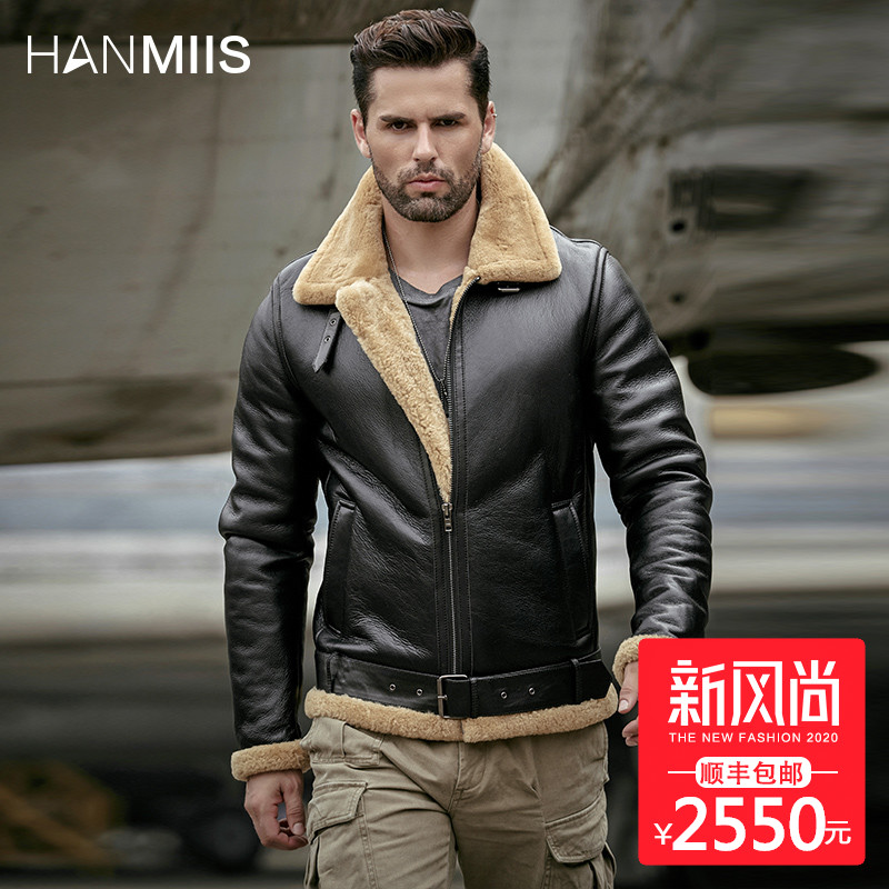 B3 original ecological thickened sheep fur one men's locomotive fur winter coat leather leather man's leather jacket