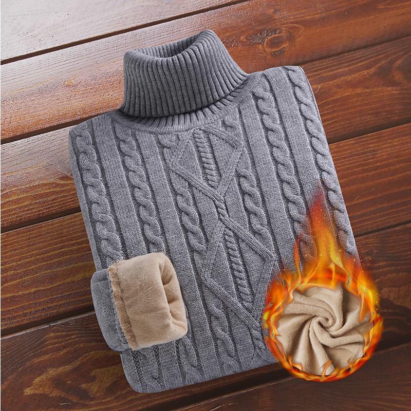 男装加绒修身毛衣男冬季高领男士韩版加厚厚款针织衫a男装线衣衣服
