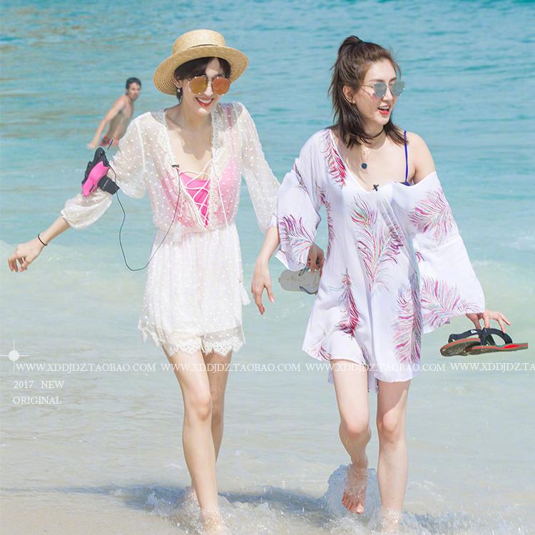 花儿与少年3第三季古力娜扎江疏影同款蕾丝印花连衣裙海边沙滩裙
