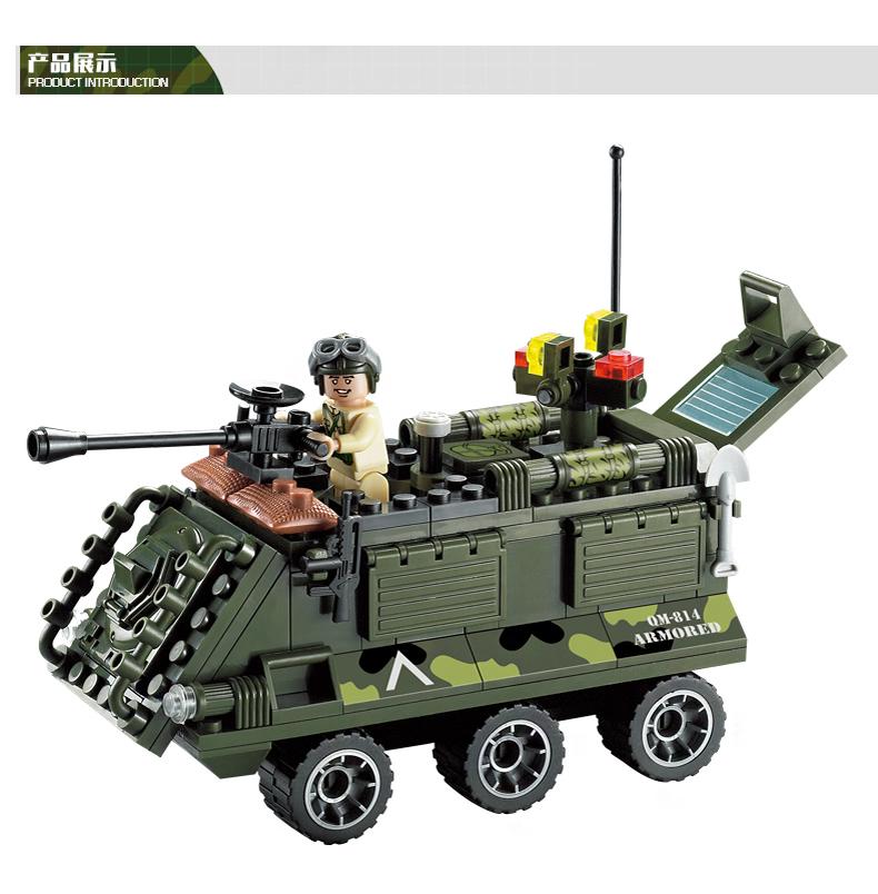 拼装玩具车_拼装玩具_814 军事装甲车 运兵车 步战车二战人仔场景拼装 ...