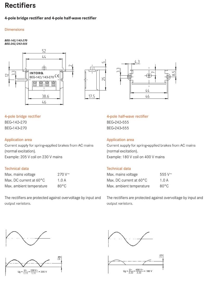 Buy Beg 243 555 Half Wave Rectifier Module Brake Halfwave Circuit Output Voltage Input 111