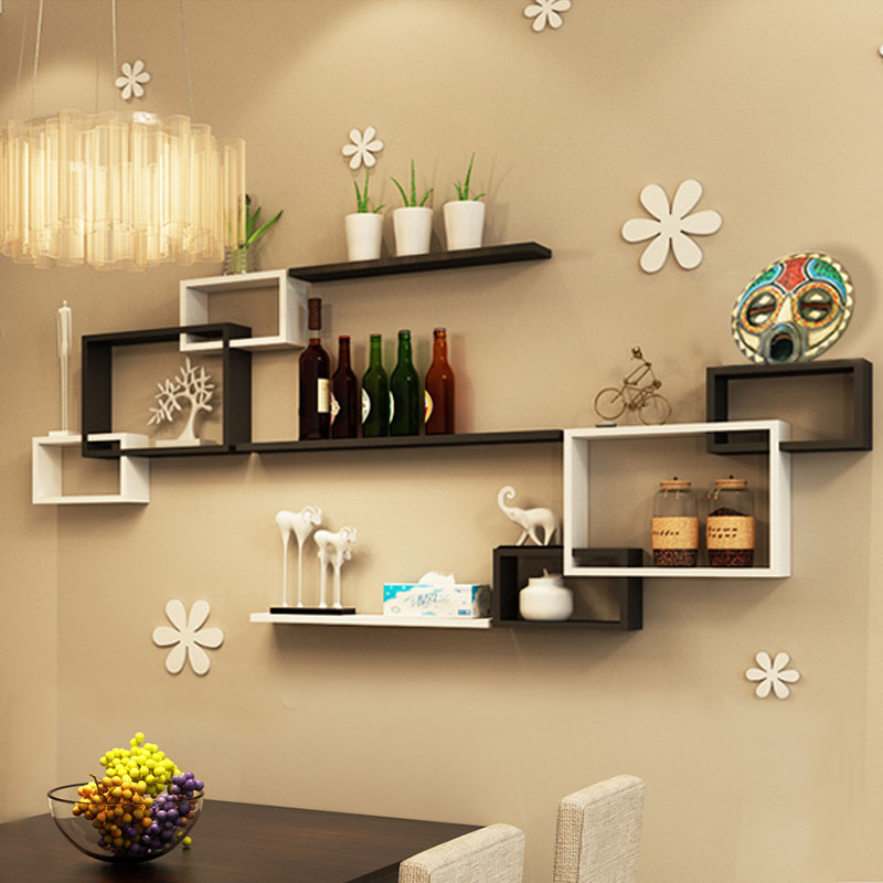 Wall shelf wall cabinets living room dining room TV background wall ...
