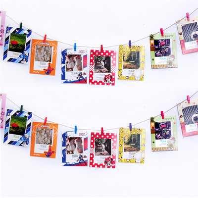 Creative combination hanging cardboard photo frame photo wall decoration color hemp rope clip fresh photo wall hanging