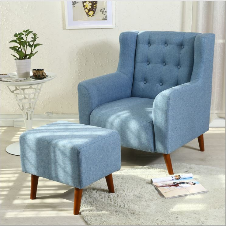 Brand New Single Seater Sofa Fabric High Back Arm Chair Foot Stool Lounge