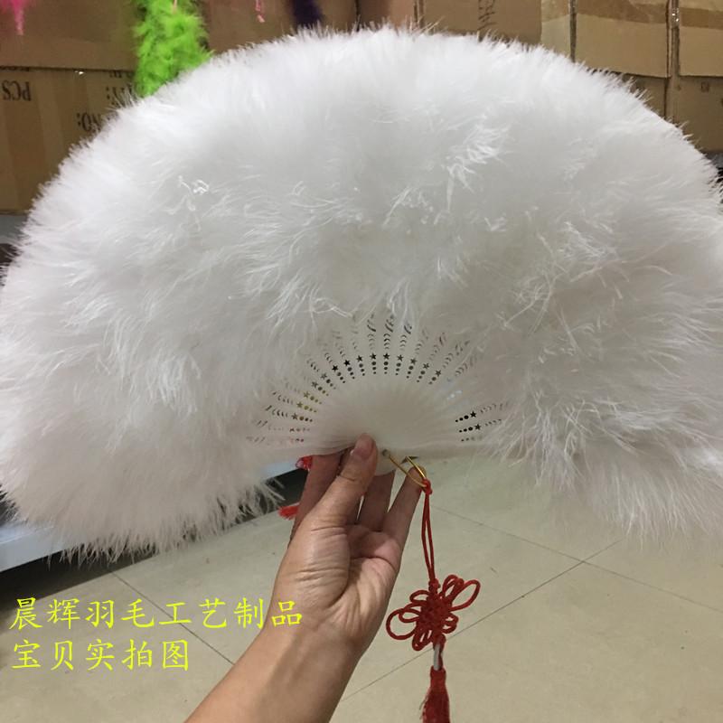 Декоративный веер Вентиляторы пера Бесплатная доставка полный плюс толстый бархат перо вентилятор стандартный вентилятор китайский стиль на подиуме сцену, чтобы исполнить танец вентилятор 50*30