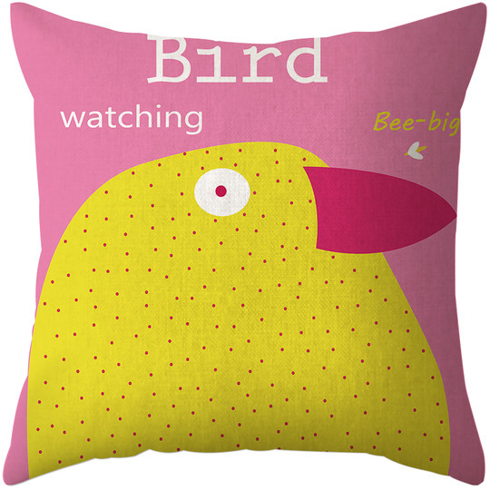 Nordic cute bird creative pillow cotton linen sofa pillow cute cartoon cushion car lumbar pillow bedside bay window cushion