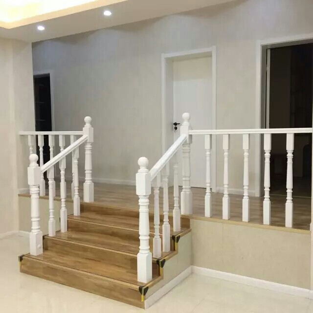 General Large Column Small Column Staircase Handrail Solid Wood Staircase  Railing Interior Staircase Column Paint Handrail Elbow Guardrail