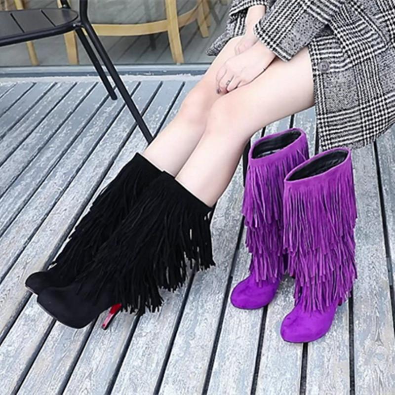 绒面流苏女靴子2019新款个性秋冬高跟内增高防水台细跟加绒中筒靴