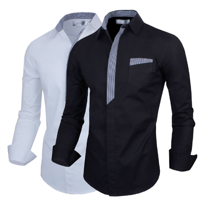 Mens contrast color long sleeve button down dress shirt for Mens white button down dress shirts