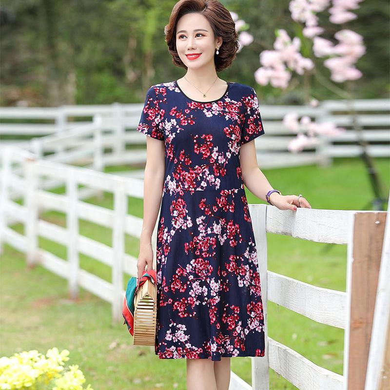 夏季新款中老年女装时尚连衣裙女长款妈妈装短袖大码长裙显瘦43