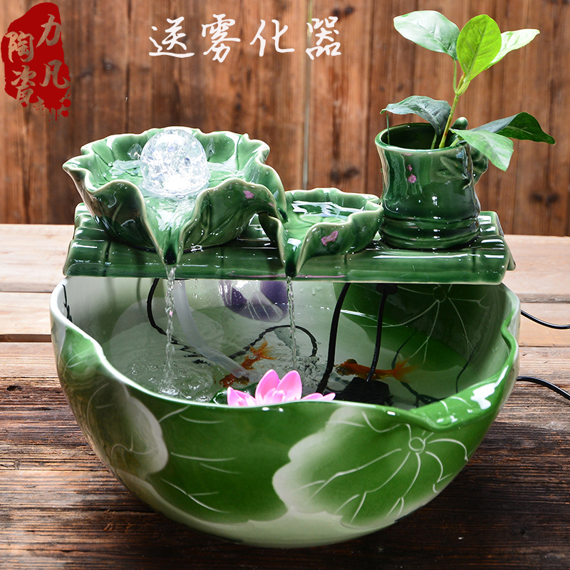 Usd Chinese Feng Shui Round Ceramic Fish Tank Water Fountain Decoration Living Room Home