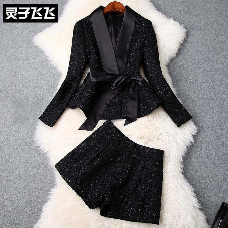 灵子飞飞欧美女装新品小香风翻领黑色蝴蝶结长袖西装短裤两件套装