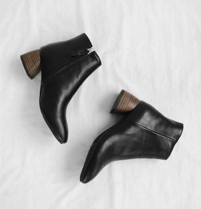 韩国女鞋时尚木纹圆头粗跟短靴欧美跟马蹄齐踝短靴马丁靴