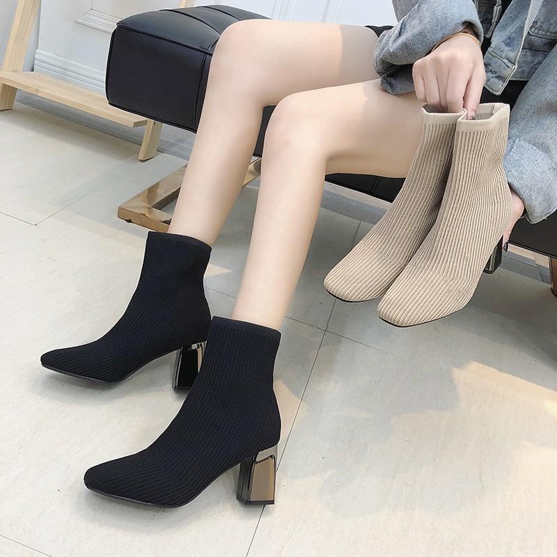 鞋子女2019新款女鞋冬马丁靴女方头瘦瘦靴针织弹力袜子靴高跟短靴