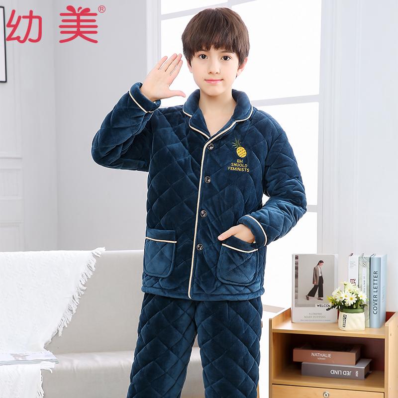 男童冬季睡衣中大童绣花三层加厚夹棉珊瑚绒法兰绒儿童保暖家居服