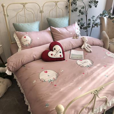 网红公主风60支长绒棉四件套爱心刺绣荷叶边被套全棉床单床上用品