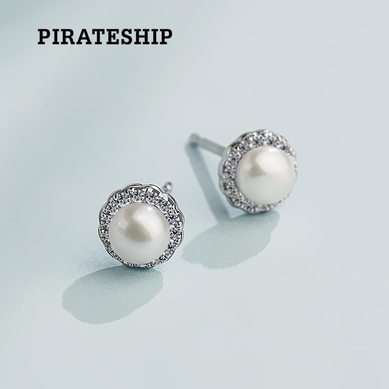 海盗船银饰 时尚气质迷你天然珍珠女耳钉 韩版简约个性银耳环耳饰