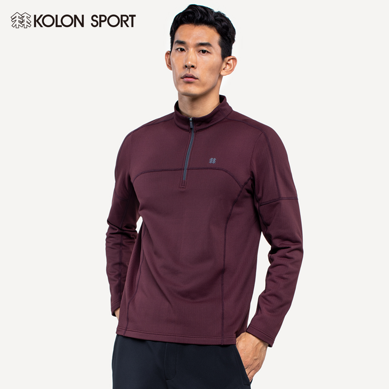 KOLONSPORT Kolon men's autumn/winter multi-color semi-zip long-sleeved T-shirt sports outdoor ride Korean tide.