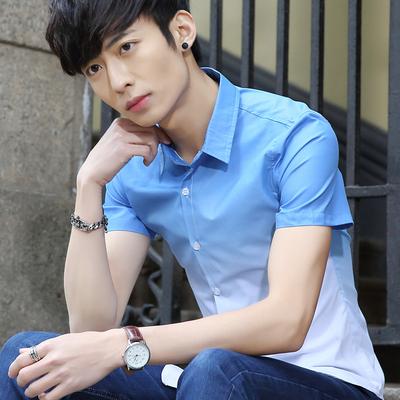 夏季修身印花衬衫休闲半袖衬衣男装韩版渐变短袖青年时尚潮流寸衫