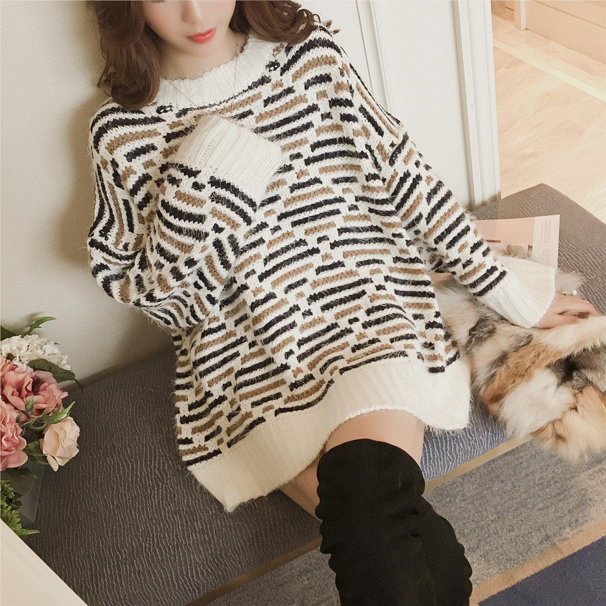 冬装新款韩版慵懒风宽松女粗线加厚毛衣中长款套头打底毛衣裙子潮