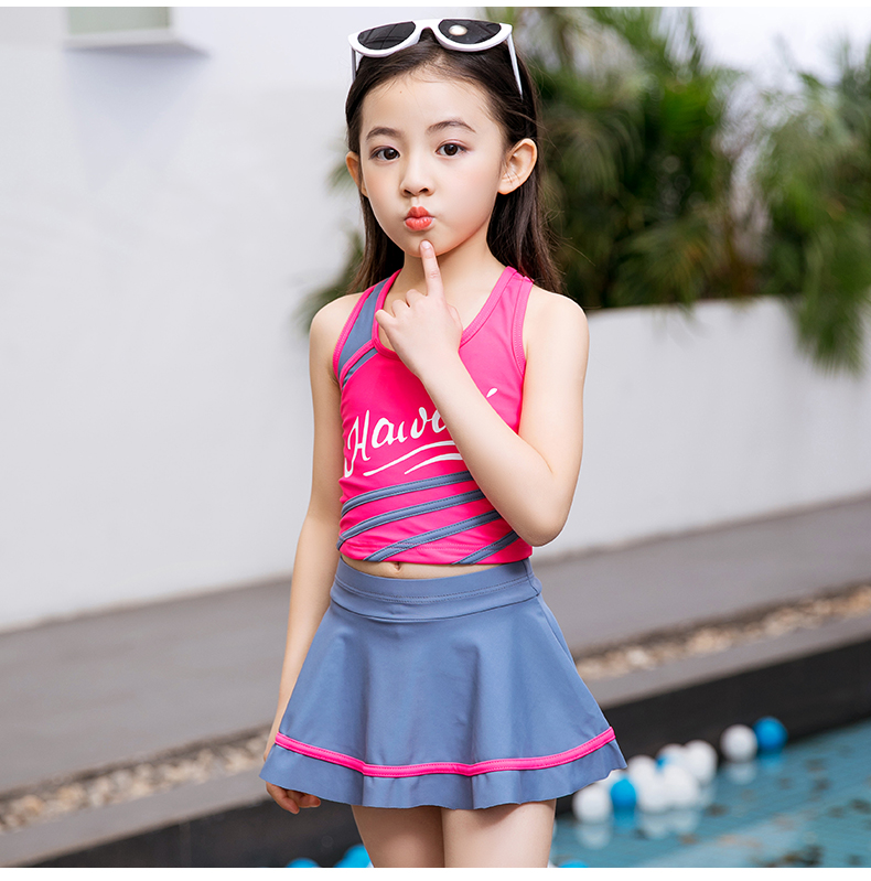 c65743ca40 USD 16.85] Parent-child swimsuit one-piece skirt cover belly student ...