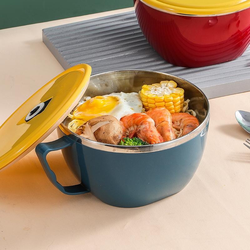 好佳品不锈钢泡面碗带盖单个宿舍学生饭盒上班族便携保温便当盒饭