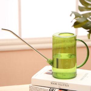 家用时尚半透明浇水壶不锈钢塑料PP小容量精致浇花壶小型阳台喷壶