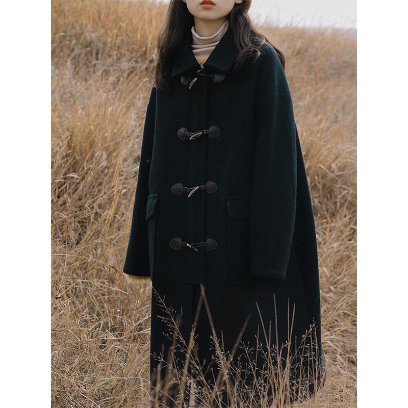 黑色牛角扣大衣女中长款韩版2019秋冬学院风加棉加厚茧型毛呢外套
