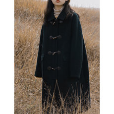 Black cowhand button overcoat for women's middle and long style Korean version autumn/winter 2019 college style with cotton and thick cocoon woollen coat