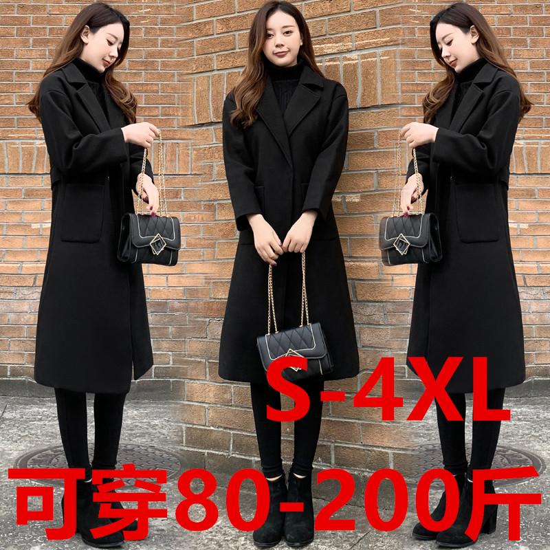 实拍有小视频 2019冬装韩范长款加棉加厚显瘦黑色呢子大衣