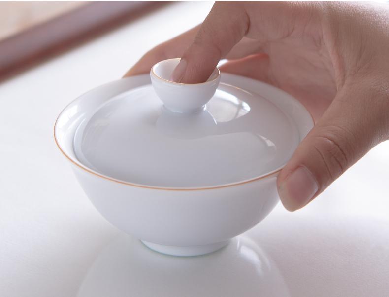永利汇甜白瓷手工盖碗茶杯单个功夫茶具景德镇陶瓷日式泡茶碗小号