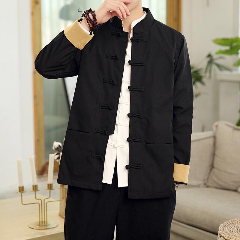Tang phù hợp với quần áo nam phong cách Trung Quốc áo dài tay lỏng lẻo đĩa retro thêu thêu Trung Quốc cải thiện dân tộc nam Hanfu - Trang phục dân tộc