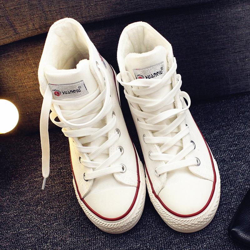环球加绒高帮帆布鞋女冬学生棉鞋2017新款韩版百搭球鞋板鞋白布鞋