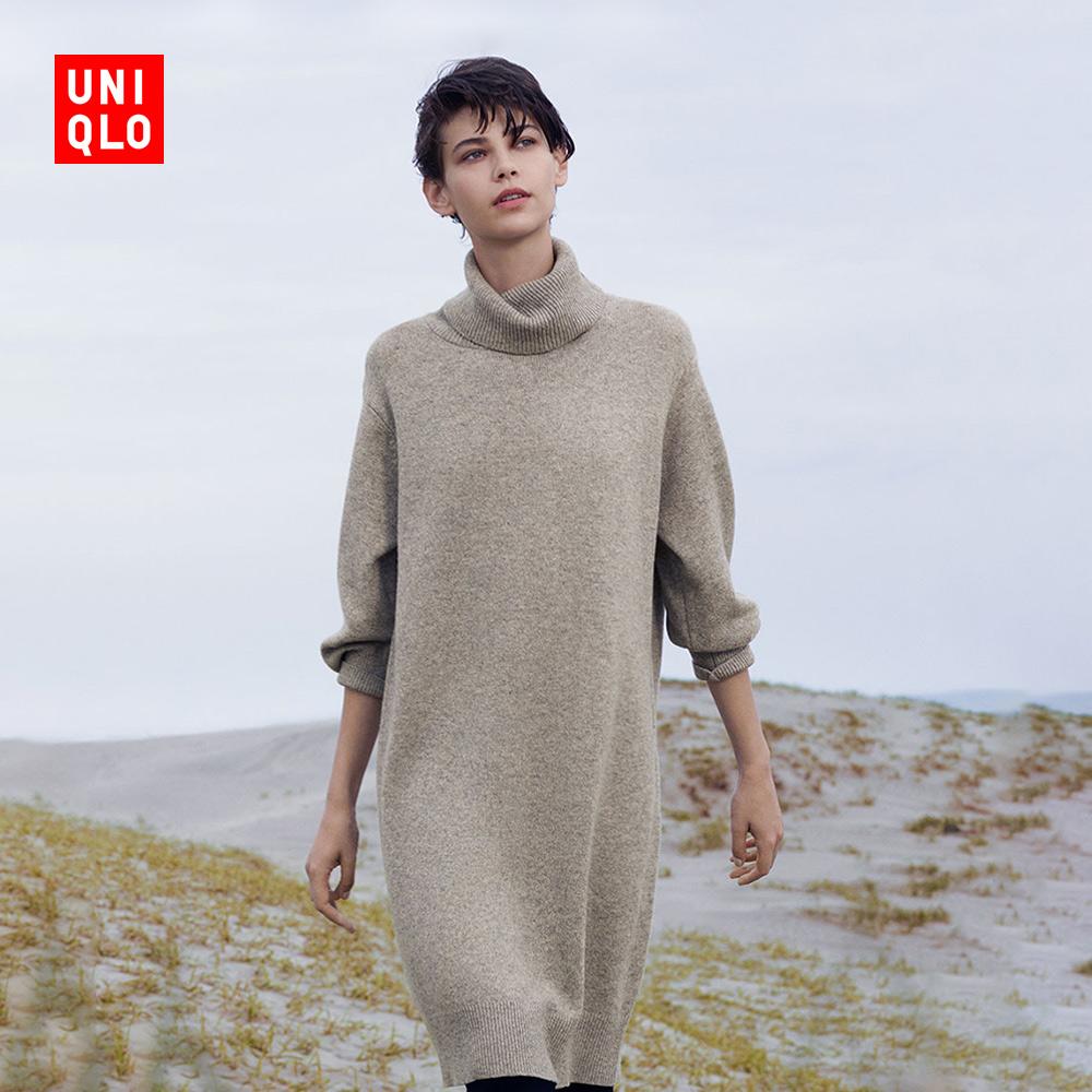 女装 柔软羊仔毛两翻领连衣裙(长袖) 409079 优衣库UNIQLO