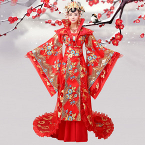 Ancient costume queen dress tailed red imperial concubine female Hanfu Tang Dynasty Princess ancient fairy skirt stage suit