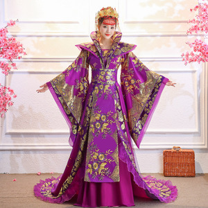 Chinese Folk Dance Dress Ancient costume female imperial concubine tailing ancient Tang Dynasty Hanfu authentic Queen court performance Costume
