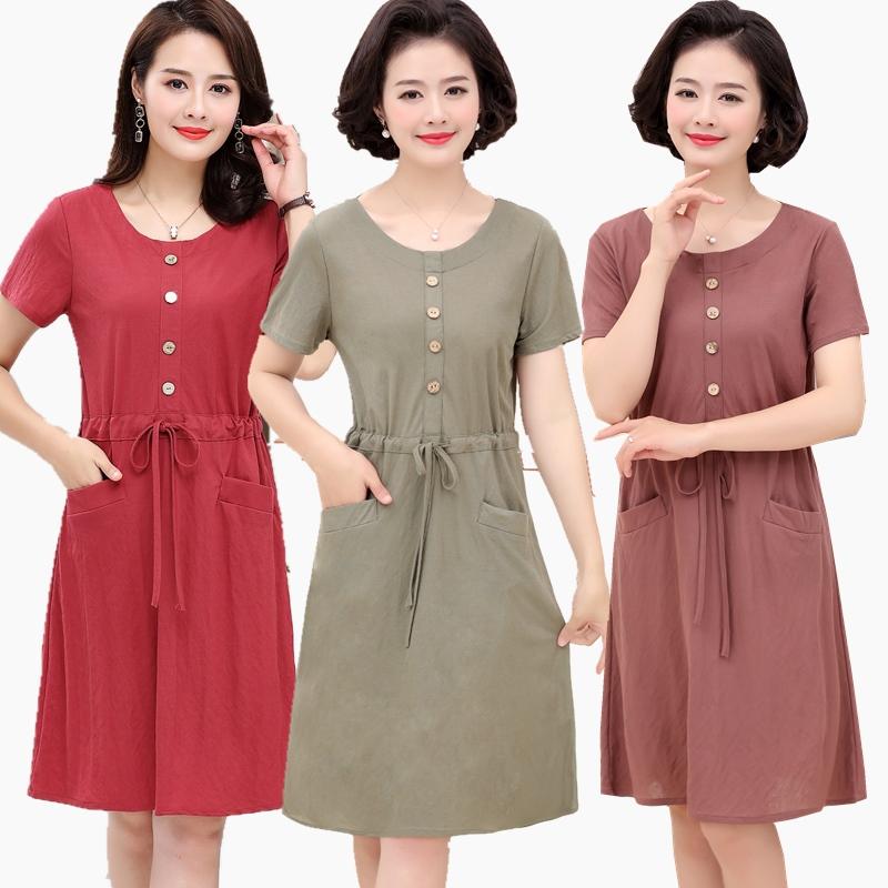Mẹ mùa hè ngắn tay áo bông 40 tuổi 50 mới lỏng lẻo phụ nữ trung niên của váy mùa hè phần dài 60