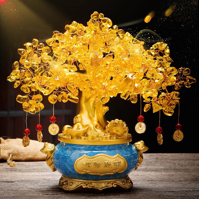 黄水晶发财树摆件招财摇钱树聚宝盆前台办公室装饰品店铺开业礼品